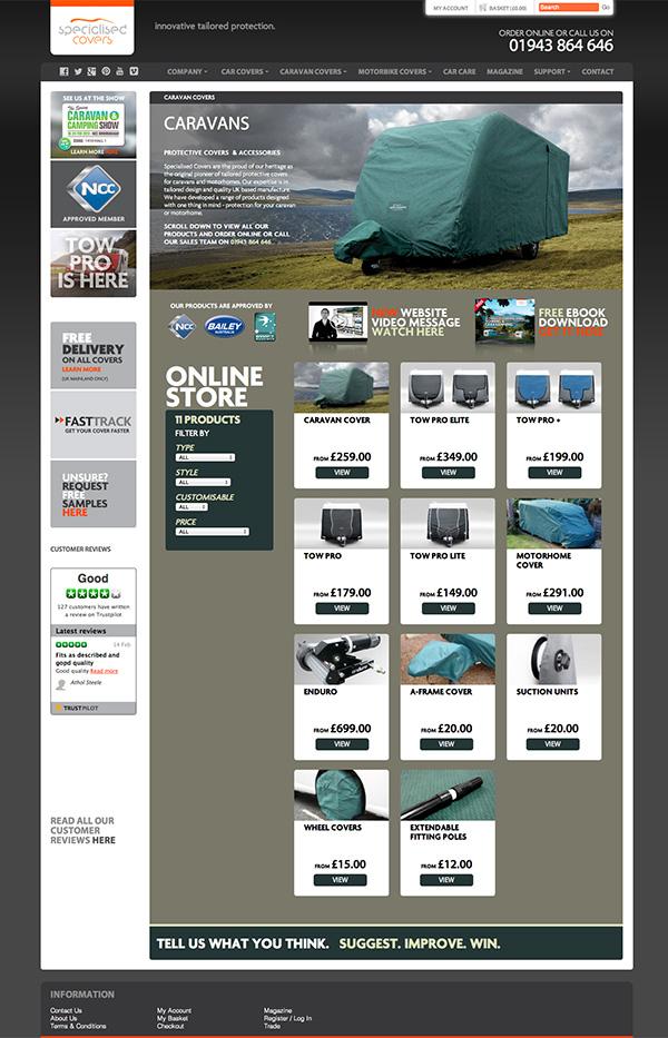 Specialised Covers Caravan Covers Website Update