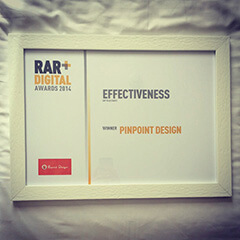 Pinpoint Designs wins Best Agency for Effectiveness - RAR Digital Awards 2014